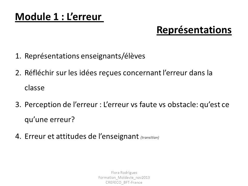 Module 1 : L'erreur Représentations