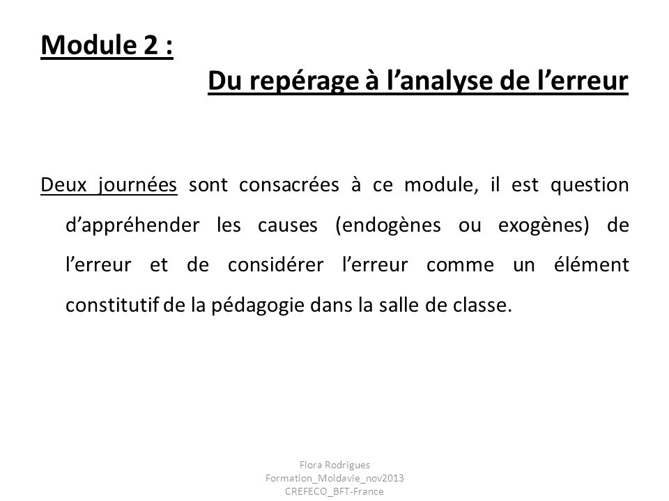 Module 2 : Du repérage à l'analyse de l'erreur