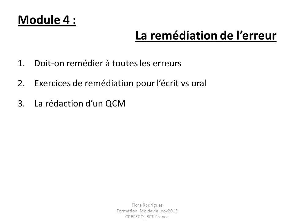 Module 4 : La remédiation de l'erreur