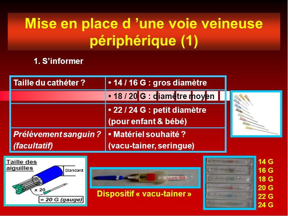 Mise en place d 'une voie veineuse périphérique (1)