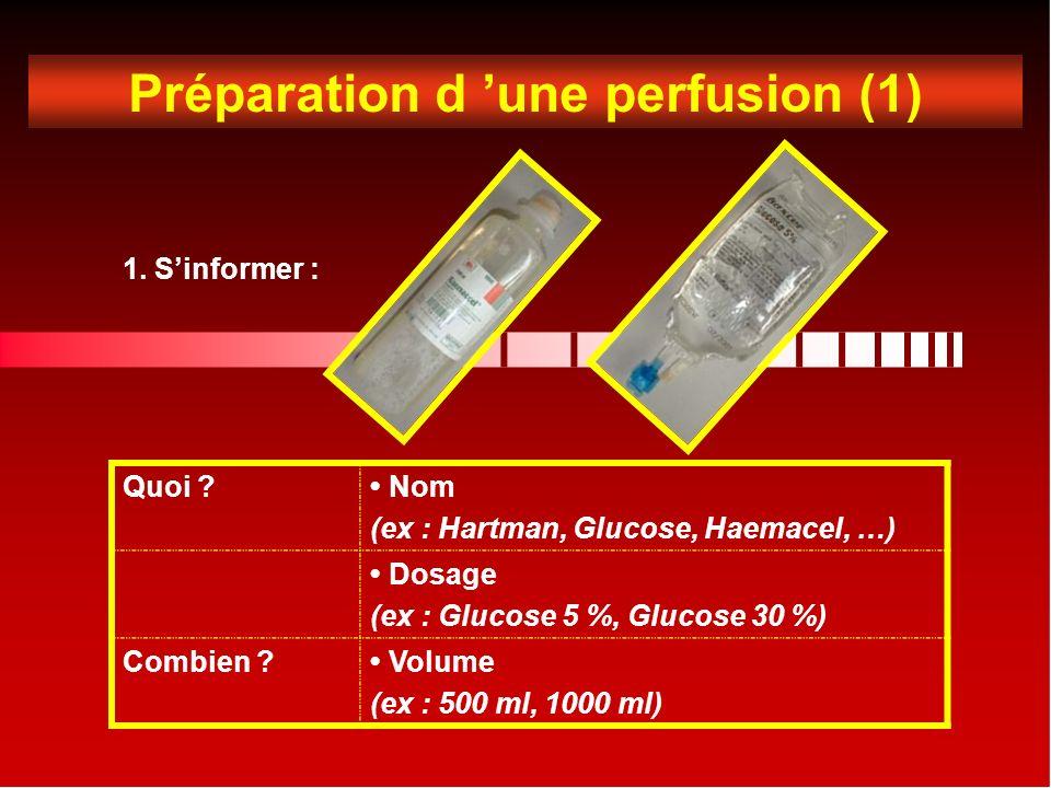 Préparation d 'une perfusion (1)