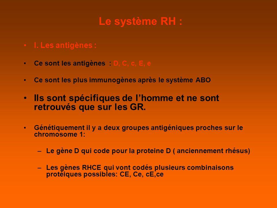 Le système RH : I. Les antigènes : Ce sont les antigènes : D, C, c, E, e. Ce sont les plus immunogènes après le système ABO.