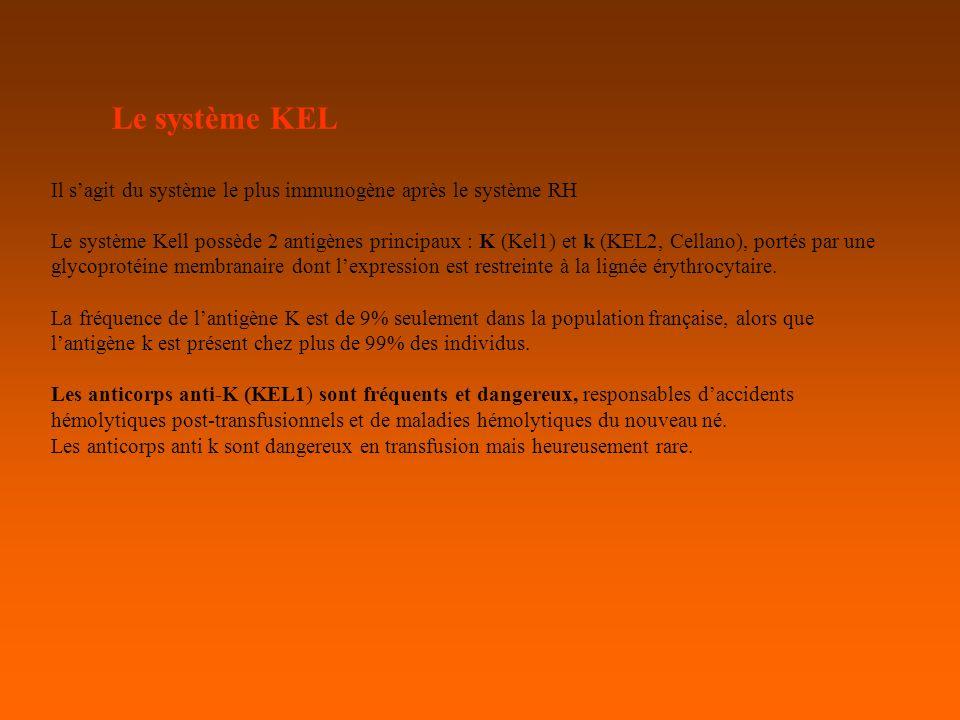 Le système KEL Il s'agit du système le plus immunogène après le système RH.