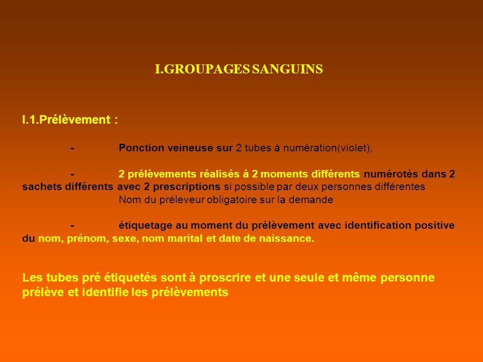 I.GROUPAGES SANGUINS I.1.Prélèvement :