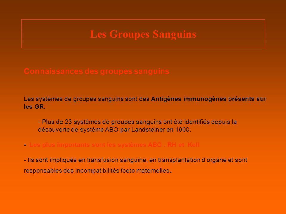 Les Groupes Sanguins Connaissances des groupes sanguins