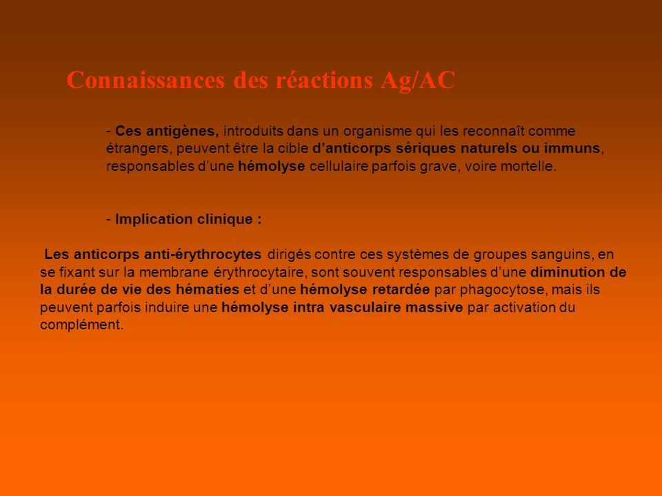 Connaissances des réactions Ag/AC