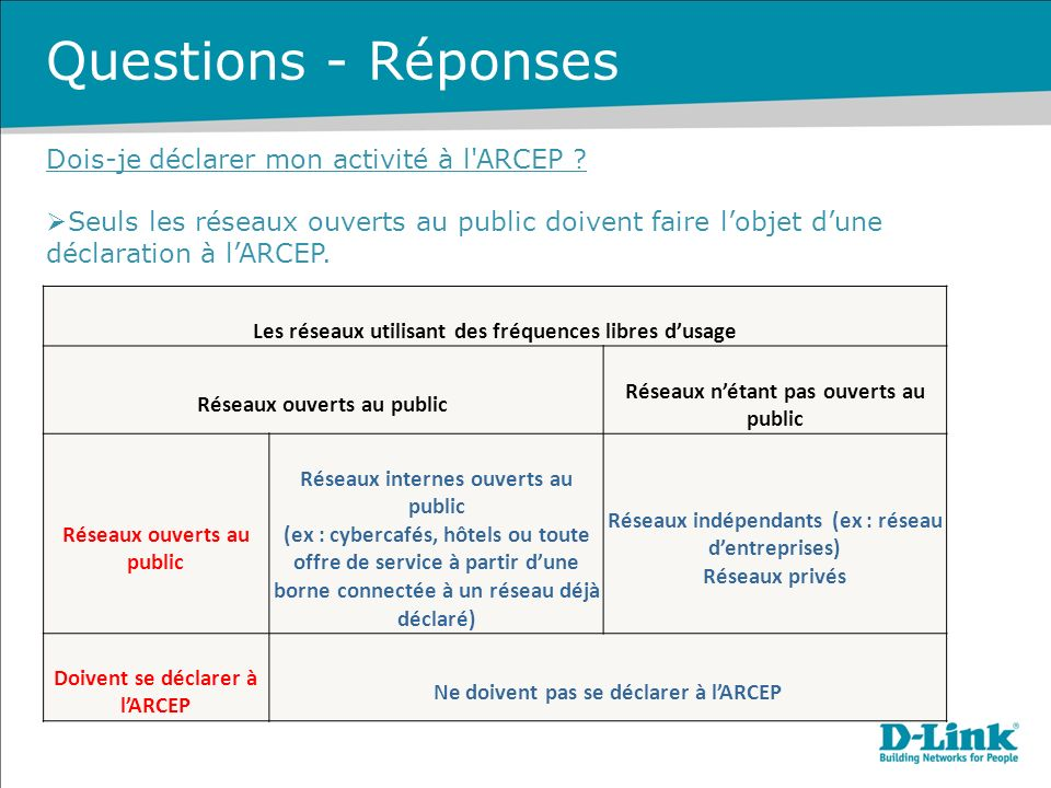 Questions - Réponses Dois-je déclarer mon activité à l ARCEP
