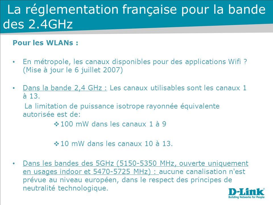 La réglementation française pour la bande des 2.4GHz
