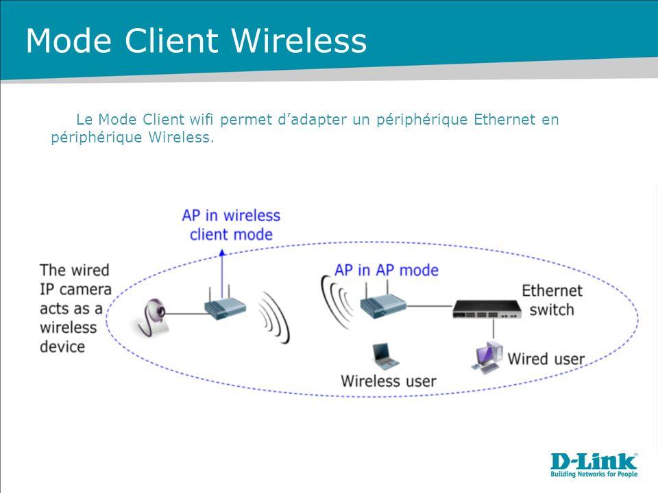 Mode Client Wireless Le Mode Client wifi permet d'adapter un périphérique Ethernet en périphérique Wireless.