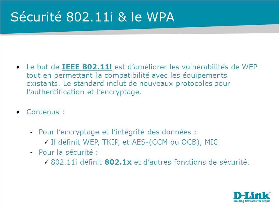 Sécurité 802.11i & le WPA