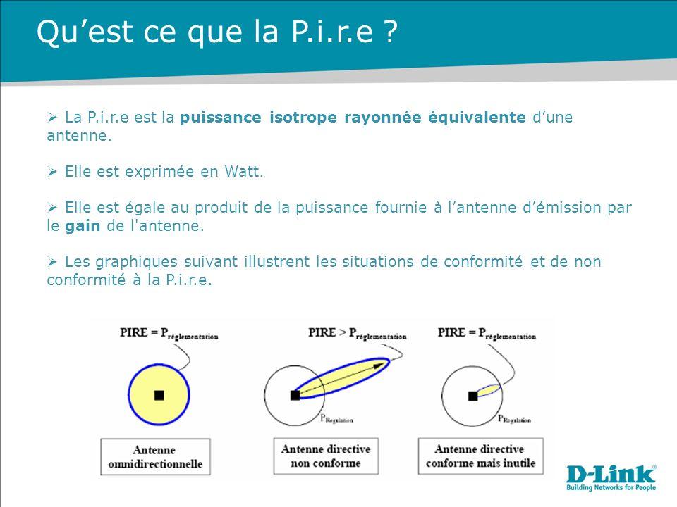 Qu'est ce que la P.i.r.e La P.i.r.e est la puissance isotrope rayonnée équivalente d'une antenne.