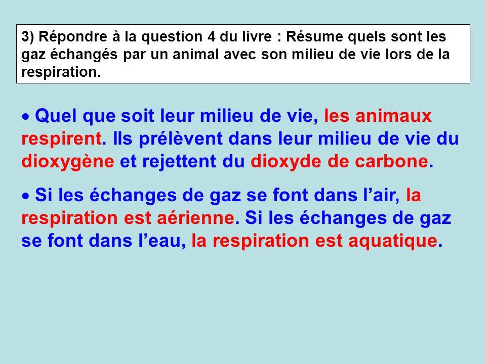 3) Répondre à la question 4 du livre : Résume quels sont les gaz échangés par un animal avec son milieu de vie lors de la respiration.