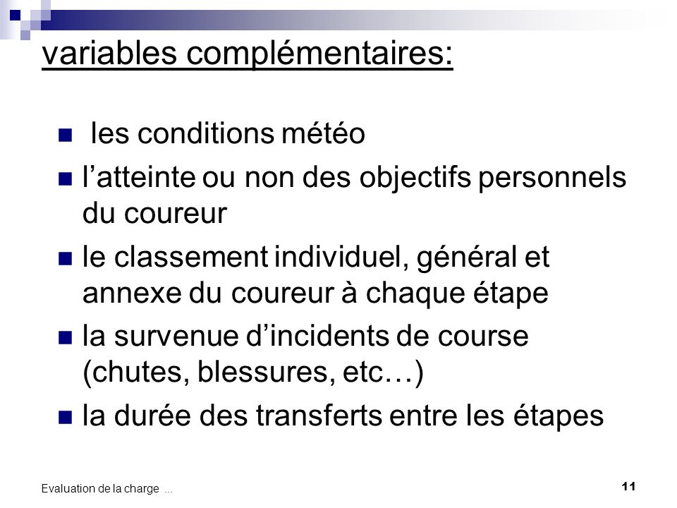 variables complémentaires: