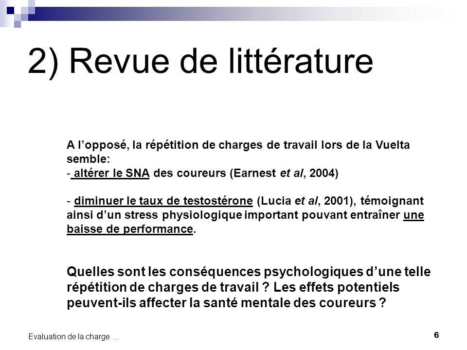 2) Revue de littérature A l'opposé, la répétition de charges de travail lors de la Vuelta semble: altérer le SNA des coureurs (Earnest et al, 2004)