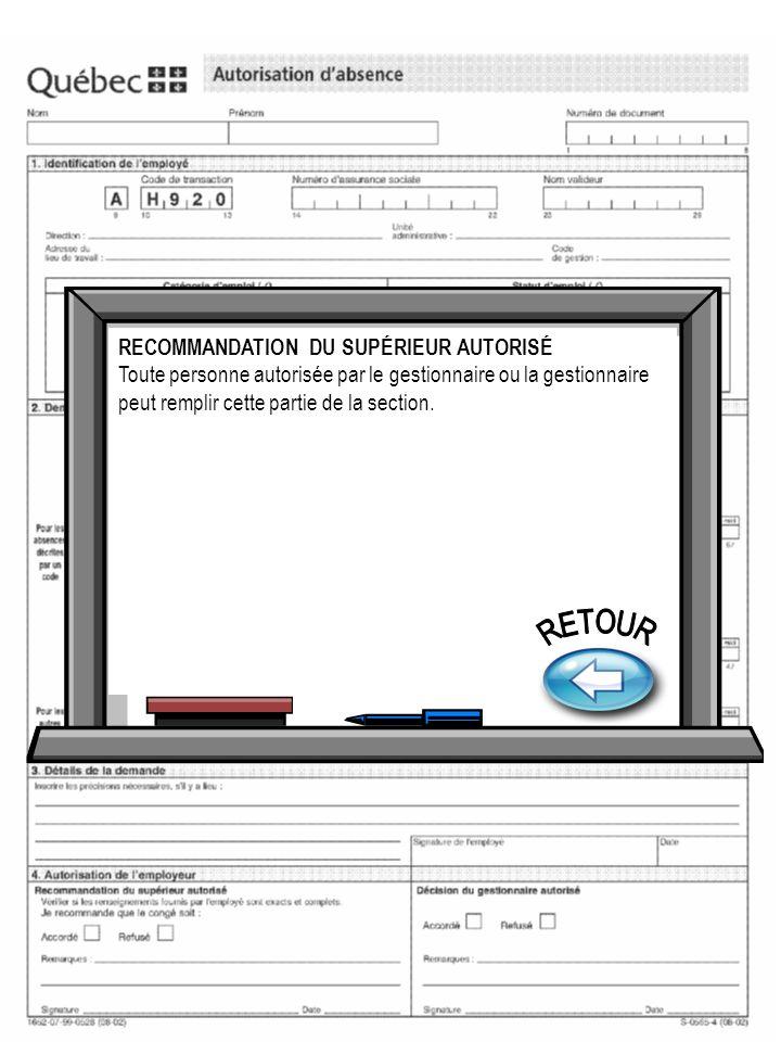 RETOUR RECOMMANDATION DU SUPÉRIEUR AUTORISÉ