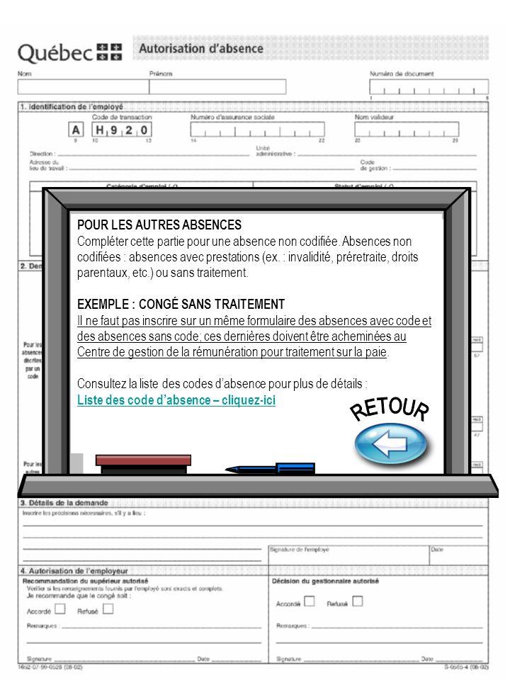 RETOUR POUR LES AUTRES ABSENCES