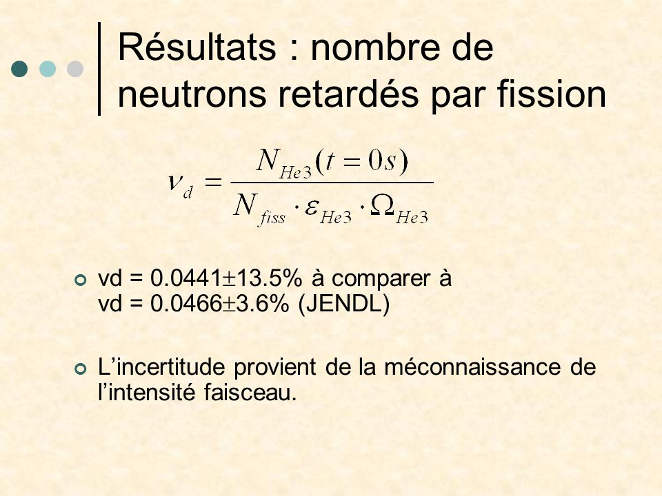 Résultats : nombre de neutrons retardés par fission