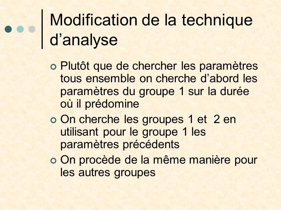Modification de la technique d'analyse