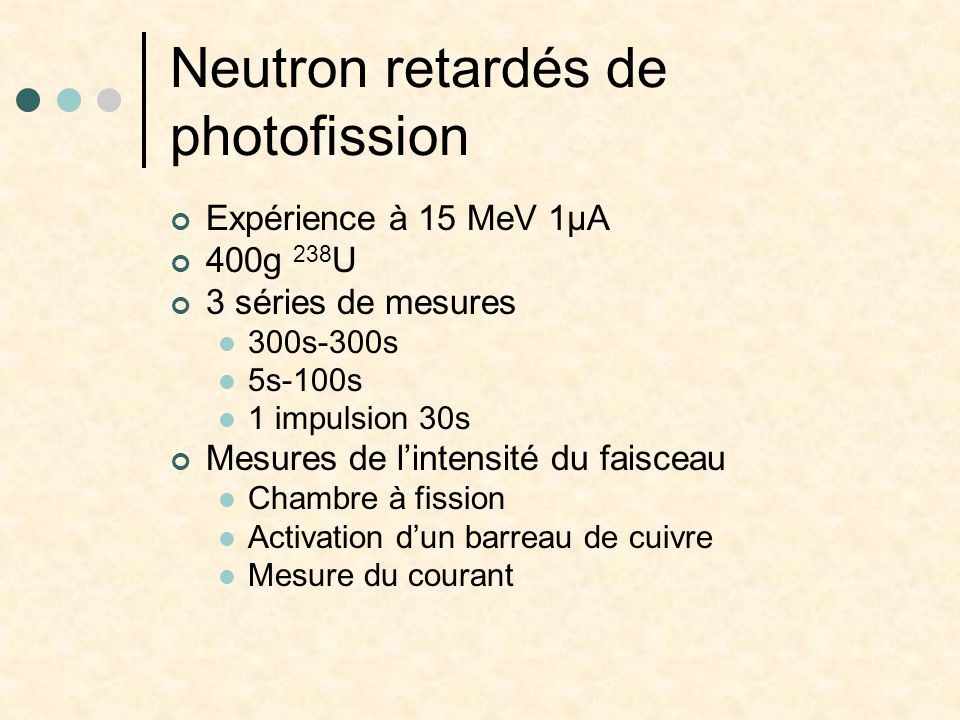 Neutron retardés de photofission