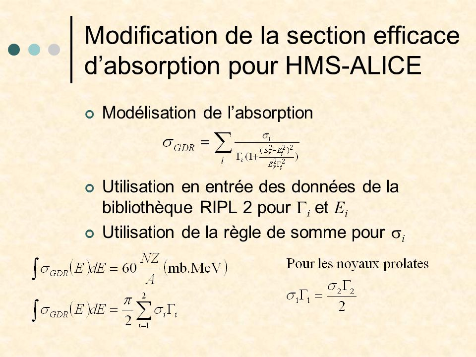 Modification de la section efficace d'absorption pour HMS-ALICE