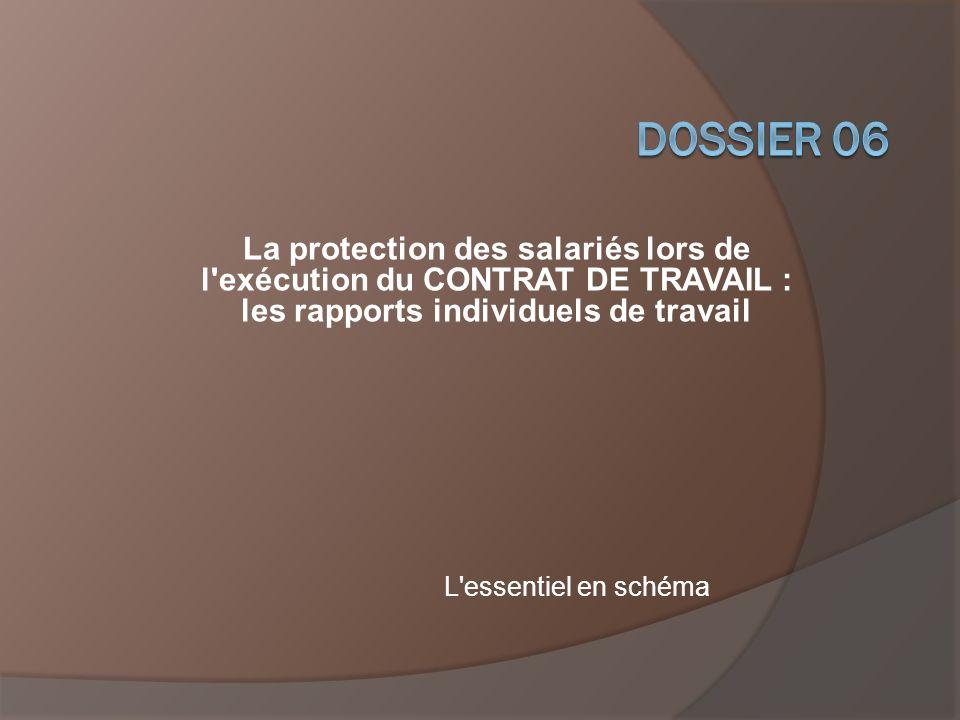 DOSSIER 06 La protection des salariés lors de l exécution du CONTRAT DE TRAVAIL : les rapports individuels de travail.