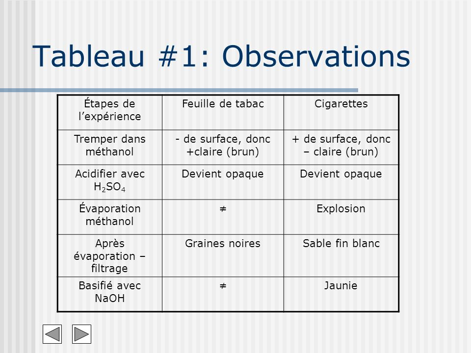 Tableau #1: Observations