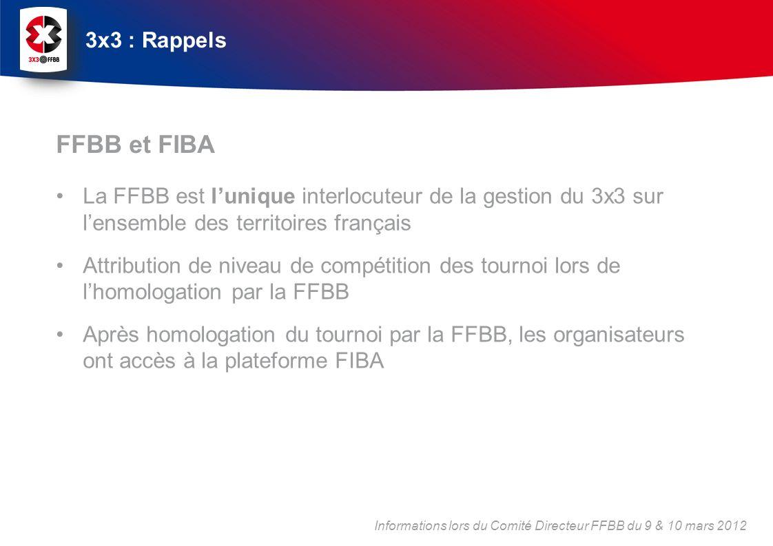3x3 : Rappels FFBB et FIBA. La FFBB est l'unique interlocuteur de la gestion du 3x3 sur l'ensemble des territoires français.