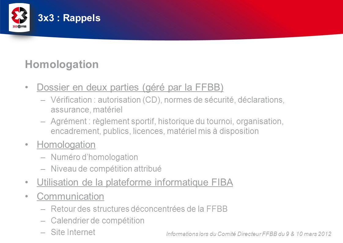 Homologation 3x3 : Rappels Dossier en deux parties (géré par la FFBB)