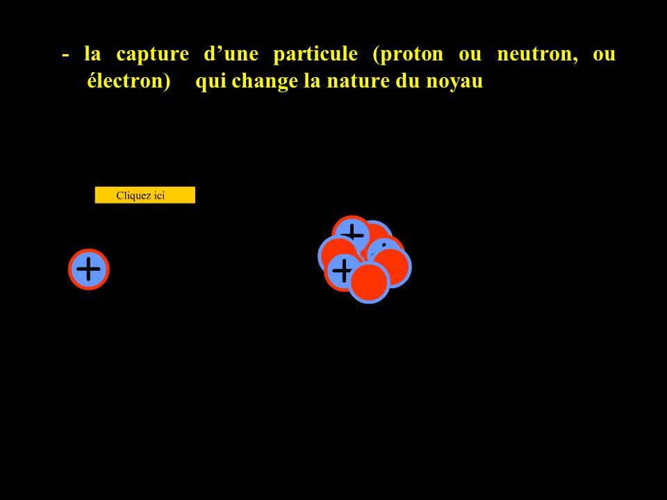 - la capture d'une particule (proton ou neutron, ou électron)