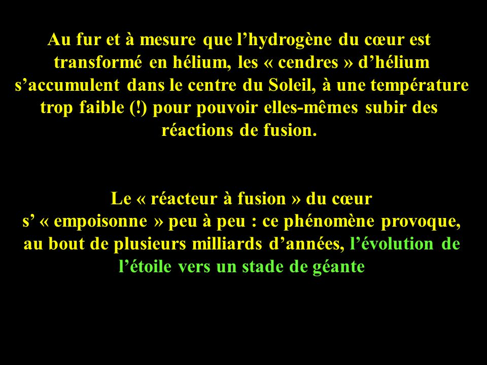 Au fur et à mesure que l'hydrogène du cœur est