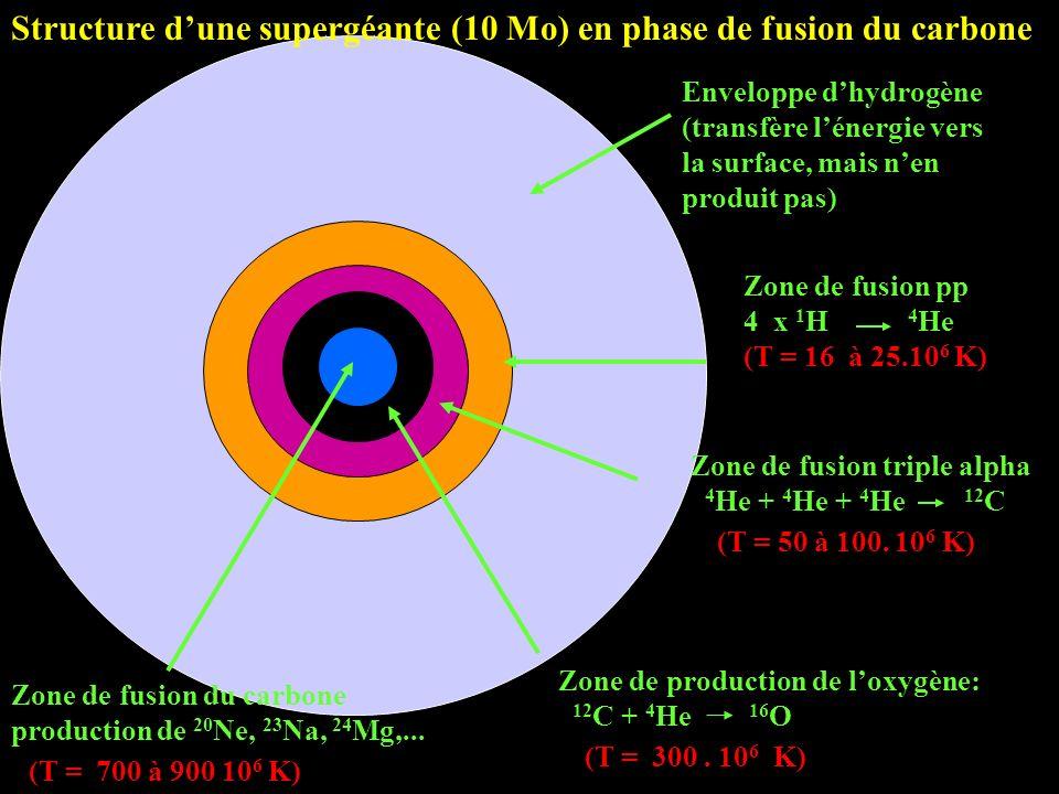 Structure d'une supergéante (10 Mo) en phase de fusion du carbone