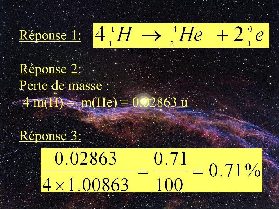 Réponse 1: Réponse 2: Perte de masse : 4 m(H) – m(He) = 0