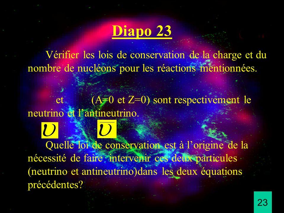 Diapo 23 Vérifier les lois de conservation de la charge et du nombre de nucléons pour les réactions mentionnées.