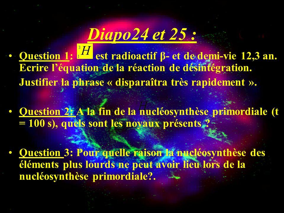 Diapo24 et 25 : Question 1: est radioactif β- et de demi-vie 12,3 an. Ecrire l'équation de la réaction de désintégration.