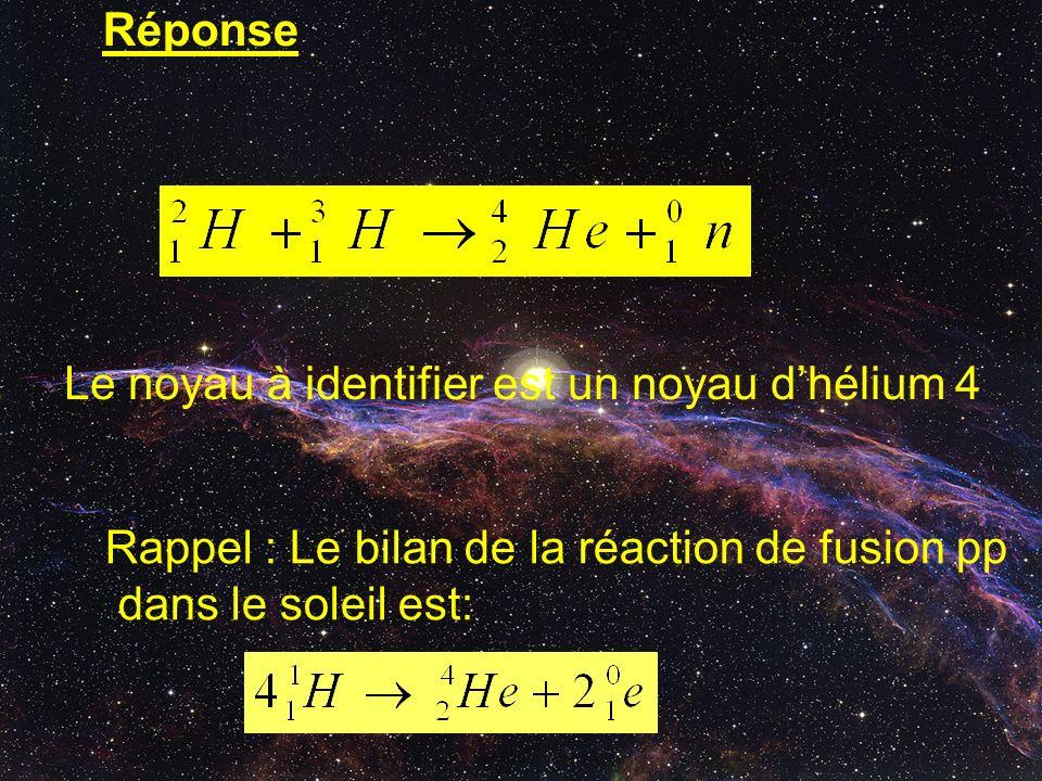 Réponse Le noyau à identifier est un noyau d'hélium 4. Rappel : Le bilan de la réaction de fusion pp.