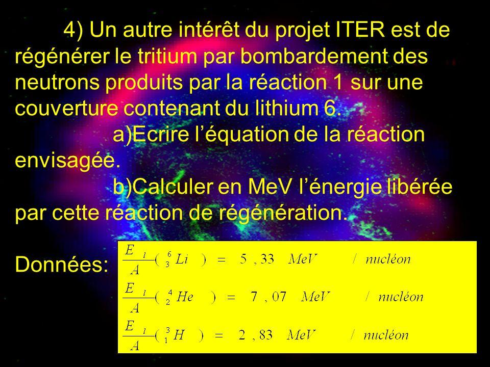 4) Un autre intérêt du projet ITER est de régénérer le tritium par bombardement des neutrons produits par la réaction 1 sur une couverture contenant du lithium 6.
