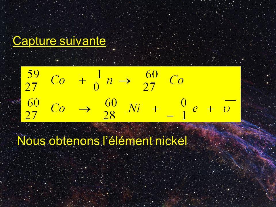 Capture suivante Nous obtenons l'élément nickel