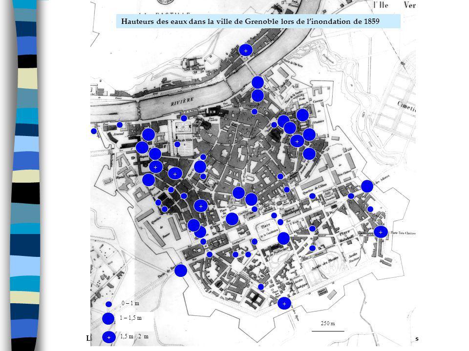 0 – 1 m 1 – 1,5 m. + 1,5 m / 2 m. 250 m. Hauteurs des eaux dans la ville de Grenoble lors de l'inondation de 1859.