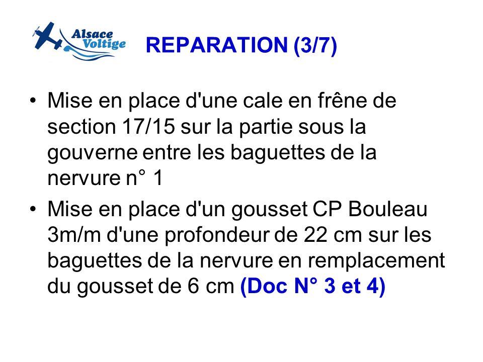 REPARATION (3/7) Mise en place d une cale en frêne de section 17/15 sur la partie sous la gouverne entre les baguettes de la nervure n° 1.