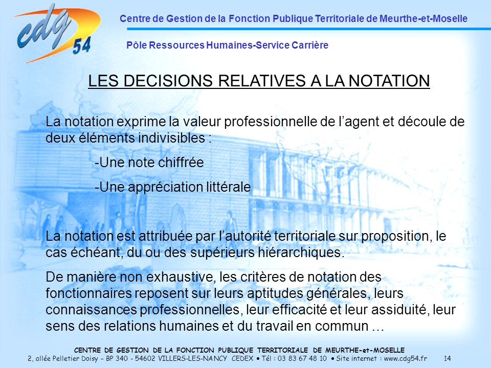 LES DECISIONS RELATIVES A LA NOTATION