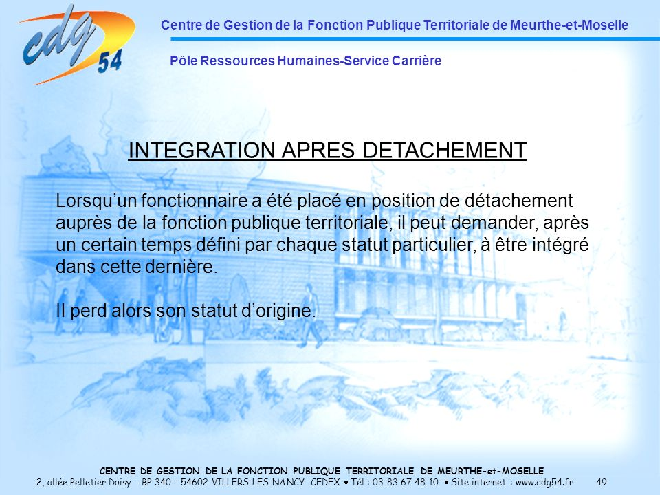INTEGRATION APRES DETACHEMENT