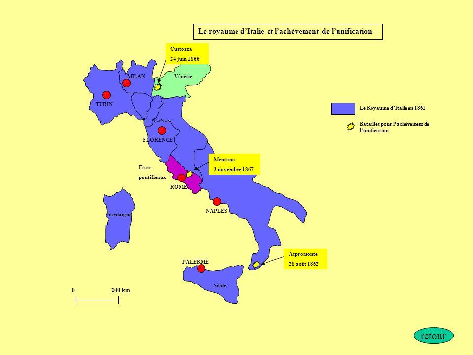 retour Le royaume d'Italie et l'achèvement de l'unification 200 km