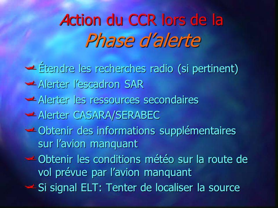 Action du CCR lors de la Phase d'alerte