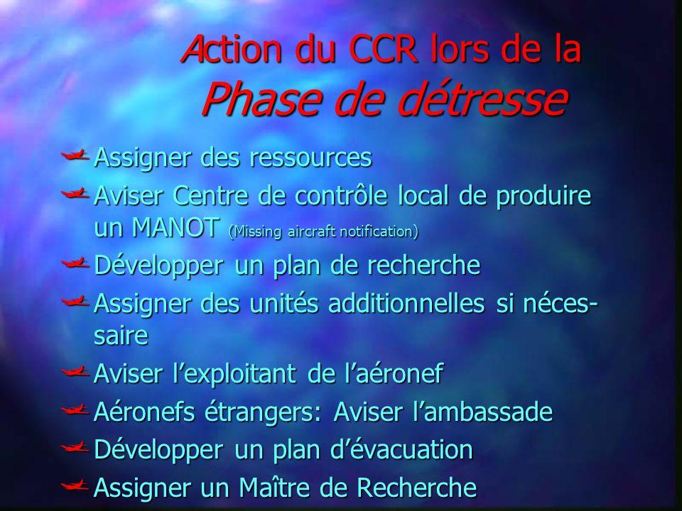 Action du CCR lors de la Phase de détresse