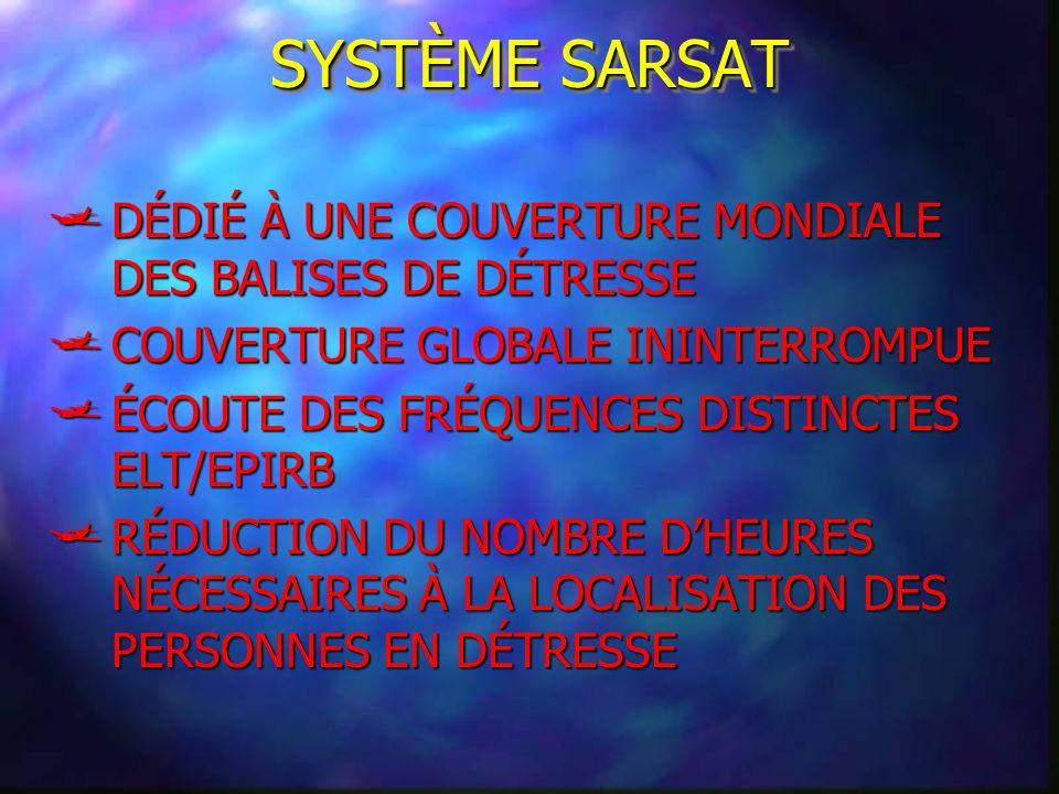 SYSTÈME SARSAT DÉDIÉ À UNE COUVERTURE MONDIALE DES BALISES DE DÉTRESSE