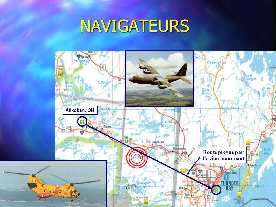 NAVIGATEURS Atikokan, ON Route prevue par l'avion manquant