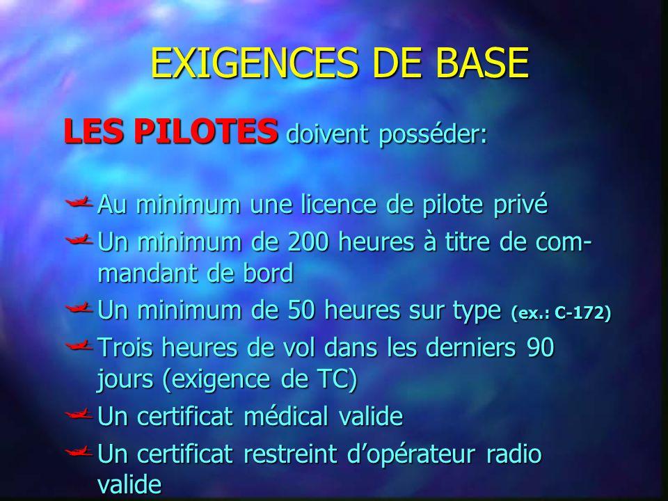 EXIGENCES DE BASE LES PILOTES doivent posséder: