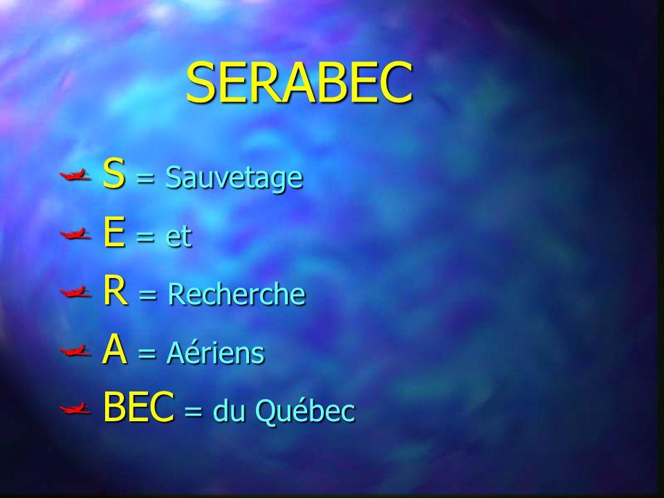 SERABEC S = Sauvetage E = et R = Recherche A = Aériens BEC = du Québec