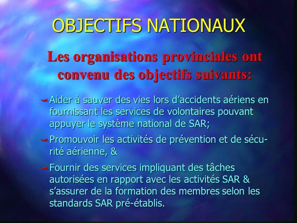 Les organisations provinciales ont convenu des objectifs suivants: