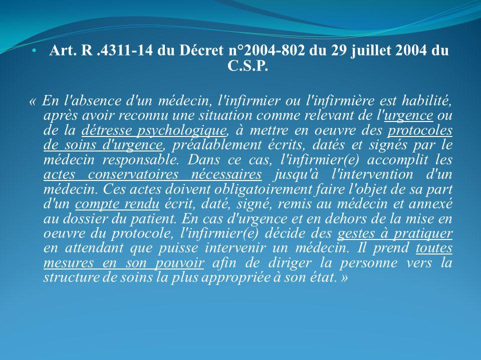Art. R .4311-14 du Décret n°2004-802 du 29 juillet 2004 du C.S.P.
